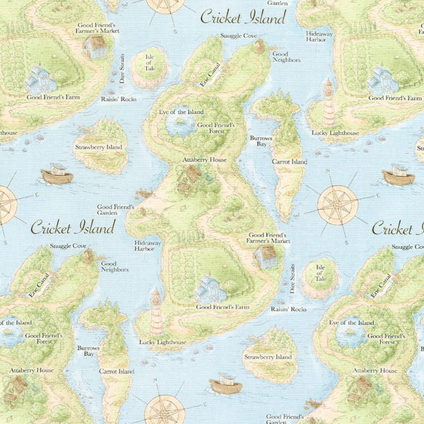Image of Fabric - Good Friends Cricket Island Map - 1/4 yard-Fabric-Bunnies By The Bay-bbtbay