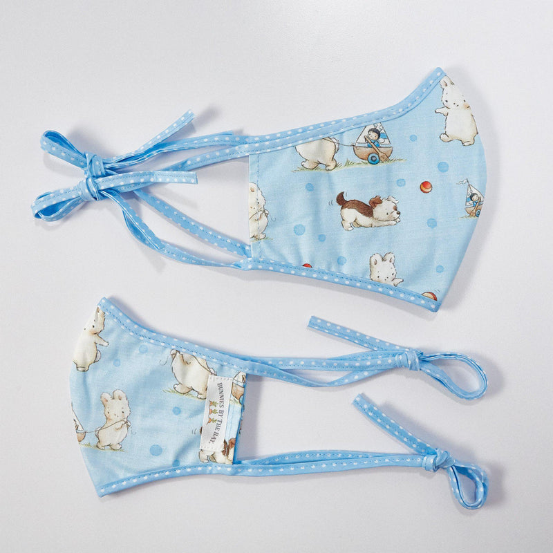 Bud Bunny and Skipit Pup Cloth Face Mask for Adults and Kids-Bud Bunny and Skipit Puppy-SKU: - Bunnies By The Bay