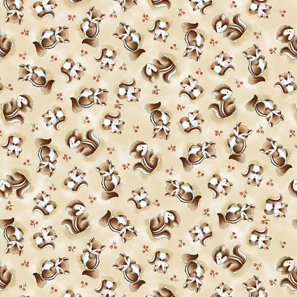 Fabric - Camp Cricket Collection - Tossed Skunks - 1/4 yard