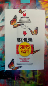 "RISK ""Riskoleum Butterflies"" Extra Large Silkscreen with Hand Painted Butterflies! - RISK"