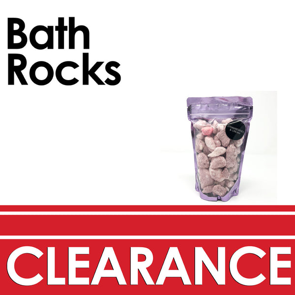 clearance promotion with crushed pink and white bath bombs in a bag