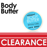 Clearance promotion of body butter with Birthday Cake fragrance as featured product
