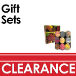 Clearance promotion of Gift sets as a 9 pack of bath bombs of various colors wrapped in fall leaves inspired gift wrap.