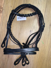 Load image into Gallery viewer, Black Plaited Hunter Flash Bridle & Reins - Mini Shetland or Pony