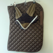 Load image into Gallery viewer, Roma Brown Cotton Saddle Pad & Ears - Pony Size