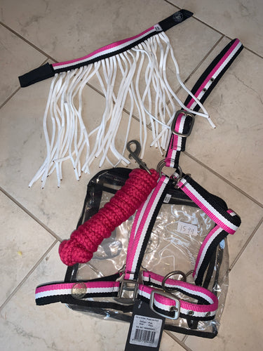 Imperial Riding Headcollar Set & Fly Fringe - Pink!! Full Sized