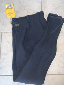 Hkm Soft Ribbed Navy Breeches - Ladies 24""