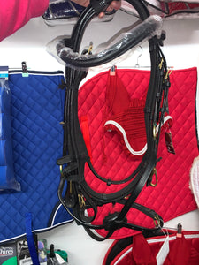 Piff Black Grackle Bridle & Webbing Reins - Cob or Full