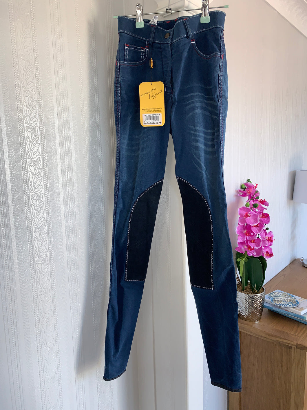 Hkm Denim Breeches - Suede Seat - Size 6 or 8 Ladies