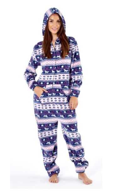 Navy Fairisle Soft Fleece Onesie - Girls 3/4 5/6yrs - Free Delivery 🚚