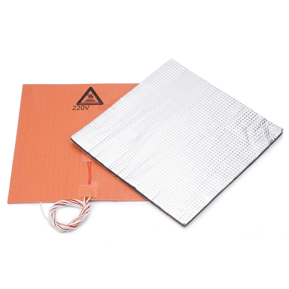 220V 750W 300*300mm Silicone Heated Bed Heating Pad + Foil Self-adhesive Heat Insulation Cotton DIY Part for 3D Printer Hot Bed
