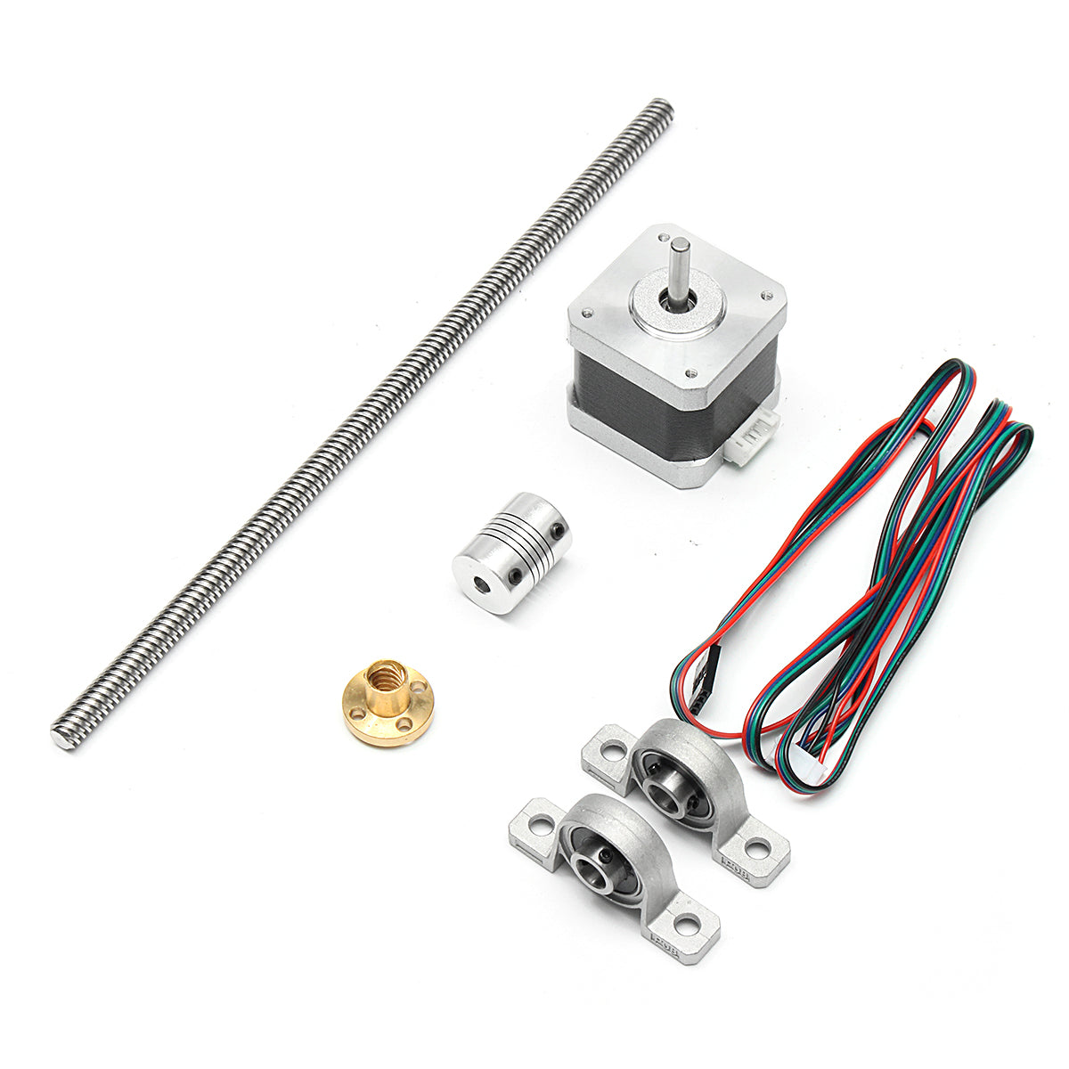 250MM T8 8mm Lead Screw Rod With Nut + Coupling + 2xBall Bearing + Motor Kit For 3D Printer