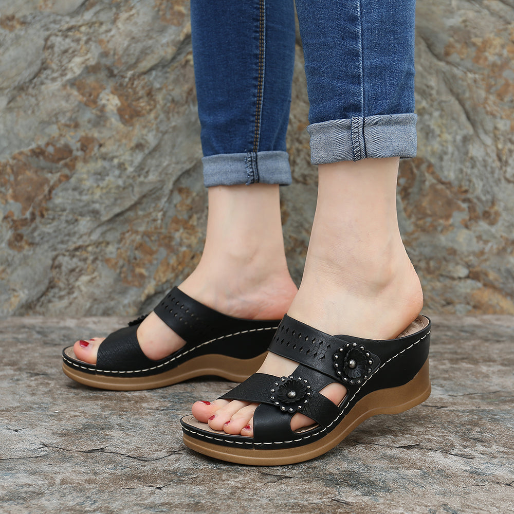 LOSTISY Hollow Out Slippers Soft Wedge Sandals For Women