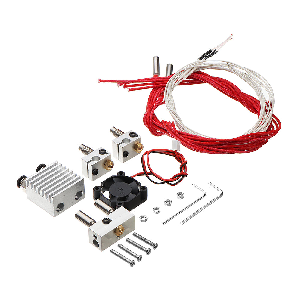 0.4mm 1.75mm Filament Two Into Two Out Extruder Kit with Heating Block/Nozzle/Cooling Fan/Thermistor