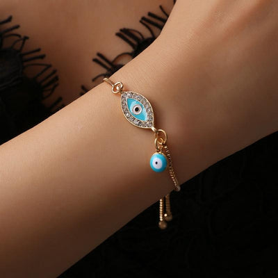 Blue Evil Eye Alloy Chain Bracelets - Tarot Love Messages