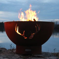 Fire Pit Art 36in Antlers Wood Burning Round Fire Pit Bowl Metal Carbon Steel Iron Oxide Patina Finish Handcrafted