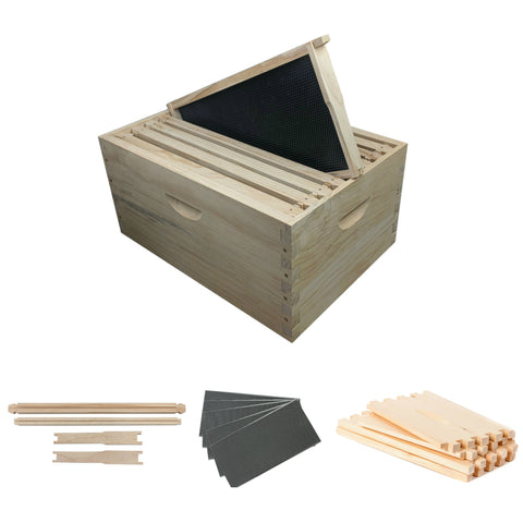 8 Frame Full Depth Beehive Super/Box Kit Including Frames and Foundation