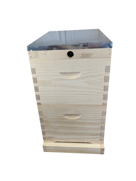 16 Frame Double Beehive Kit With Mesh Screen Base - Includes Frames