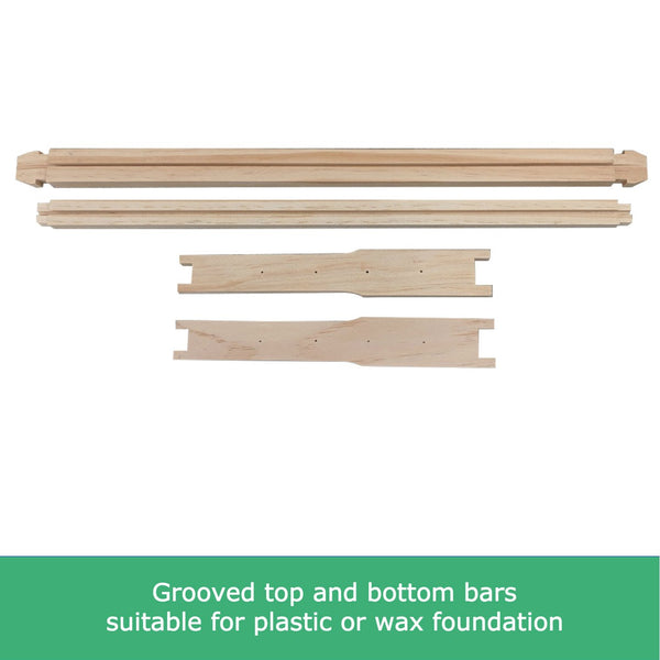 Premium Grade Full Depth Timber Beekeeping Frames - Unassembled - Grooved Top/Bottom Bar