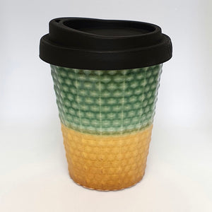 Ceramic Coffee Cup Dimple - Jade & Gold