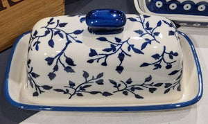 Ceramic Butter Dish - Blue Leaves