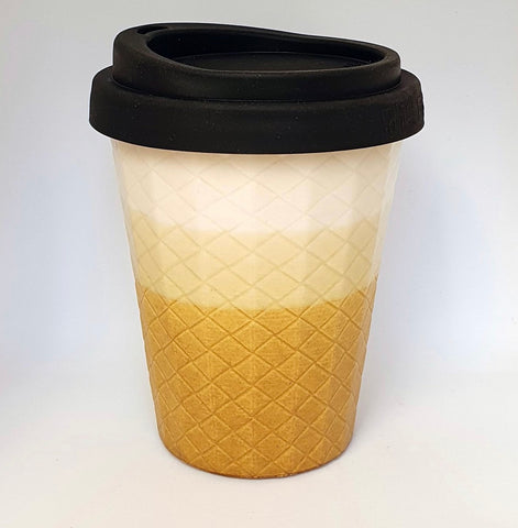 Ceramic Coffee Cup Weave - white & gold
