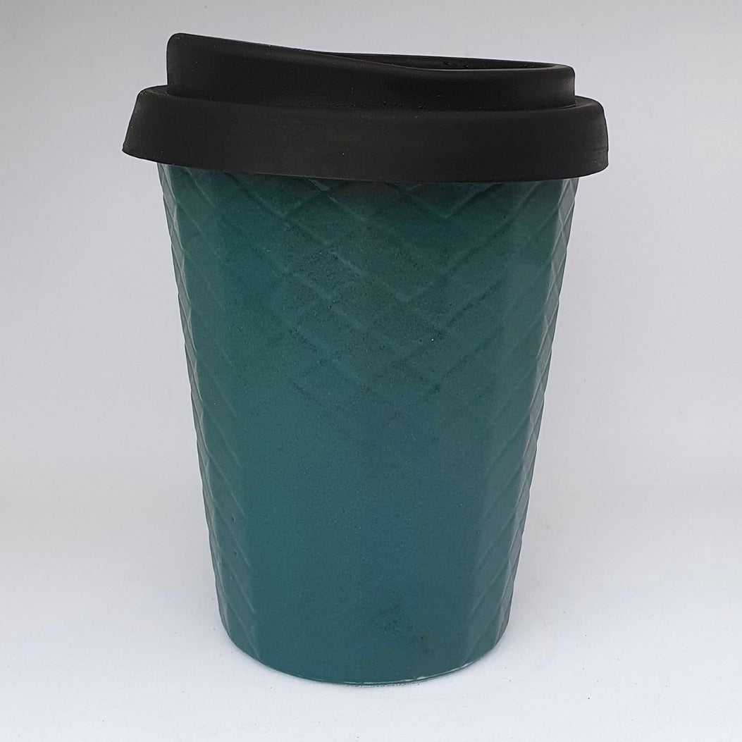 Ceramic Coffee Cup Dimple - Teal