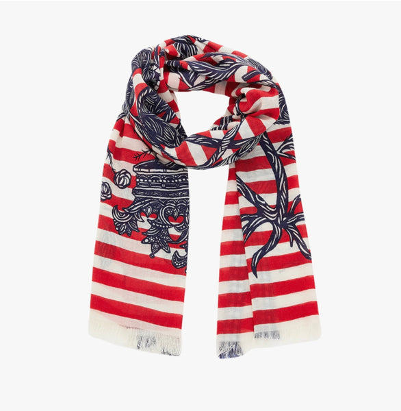 Scarf Wool Red Striped