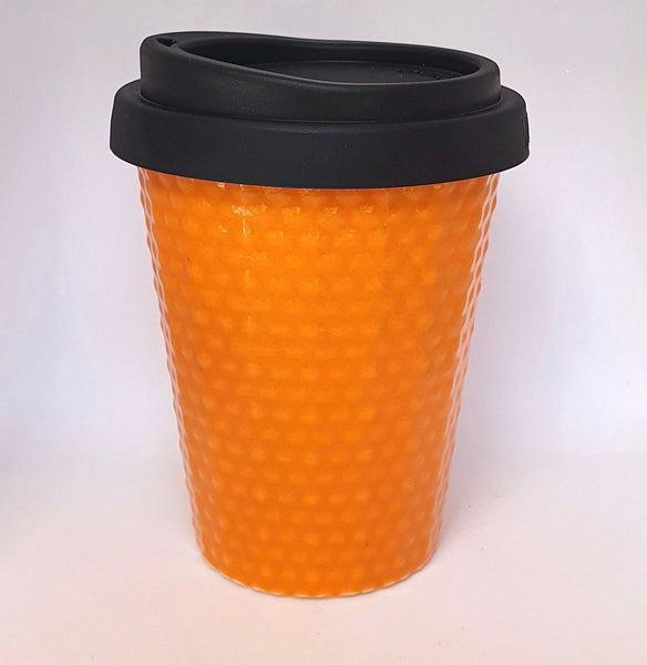 Ceramic Coffee Cup Dimple - Orange