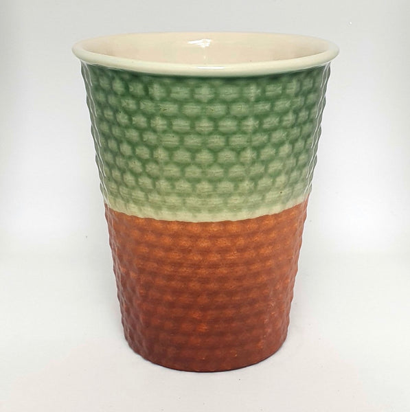 Ceramic Cup Jade & Tan Dimple