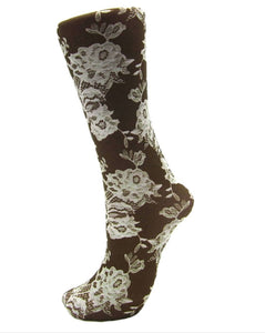 CS Couture Trouser Sock - Yoga Lace, Brown