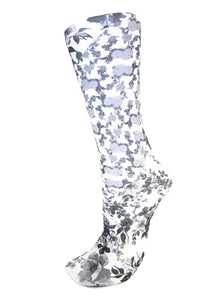 CS Couture Trouser Socks - White Climbing Roses
