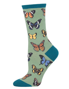 Socks - Women's - Majestic Butterfly's - Green