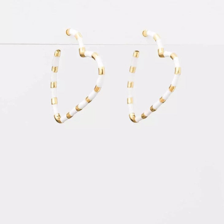 S&G Earrings - White/Gold Hearts