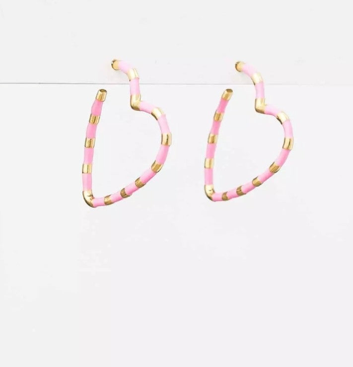 S&G Earrings - Pink/White Hearts