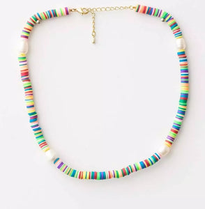 S&G Necklace - Coloured Clay Disc with Pearl