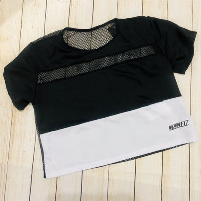 Two color mesh Crop Top Ref 005