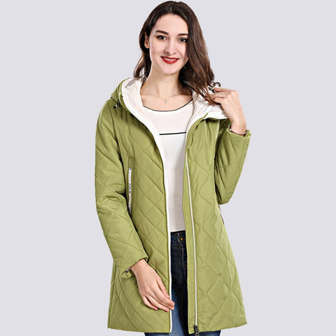 2019 Spring Autum Women's Parka Coat Thin Women Jackets Long Plus Size Hooded High Quality Warm Cotton Coats  New  Outwear