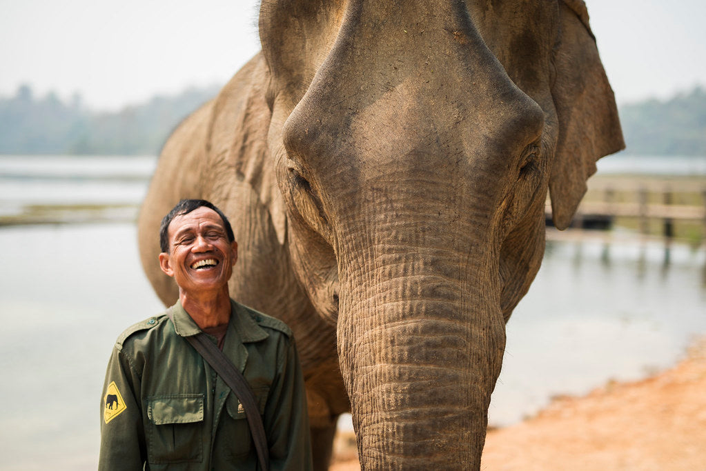 Mahout from elephant conservation center smiling next to elephant