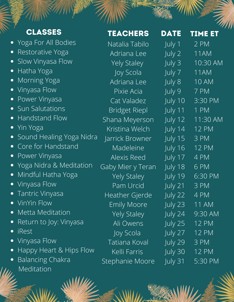 Yoga For Elephants Course Schedule