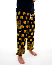 Load image into Gallery viewer, Front-view golden elephant pants in black with model and white background-fullsize image