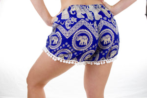 Tribal Pom-pom Elephant Shorts-Blue