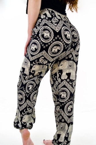 Tribal Elephant Pants-Black
