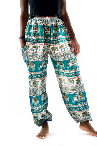 Aztec Elephant Pants-Teal