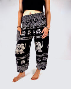 Rear-view diamond elephant pants in black with model and white background-halfsize image