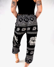 Load image into Gallery viewer, Front-view diamond elephant pants in black with model and white background-fullsize image