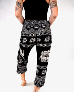 Front-view diamond elephant pants in black with model and white background-fullsize image