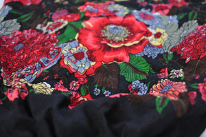 Close-up on floral elephant pants pattern in black