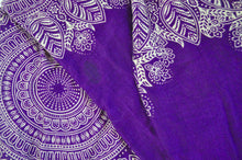 Load image into Gallery viewer, Close-up on dream catcher elephant pants pattern in purple