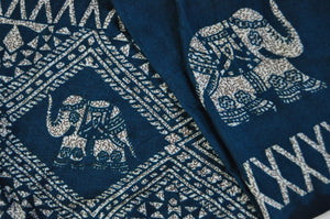 Close-up on diamond elephant pants pattern in teal